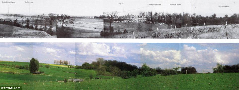 A collection of panoramic images taken by brave Britons gathering intelligence during the First World War has been revealed. These two images show the same view of The Somme at The Hawthorn Ridge 99 years apart. The location was one of the bloodiest of the entire conflict - and on 1 July 1915, thousands of Lancashire Fusiliers were cut down at the spot. Today the landscape shows nothing of the horrors it once witnessed