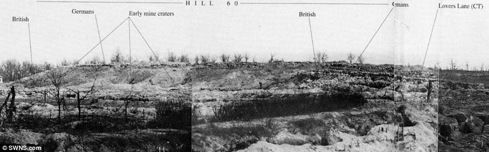 An image dated April 1915 shows Hill 60 - an important landmark near Ypres. The photograph shows how close enemy lines were - with the Germans holding the vital upper ground on Hill 60. It also shows some of the black humour that existed - with one part of the British trenches ironically nicknamed Lovers Lane
