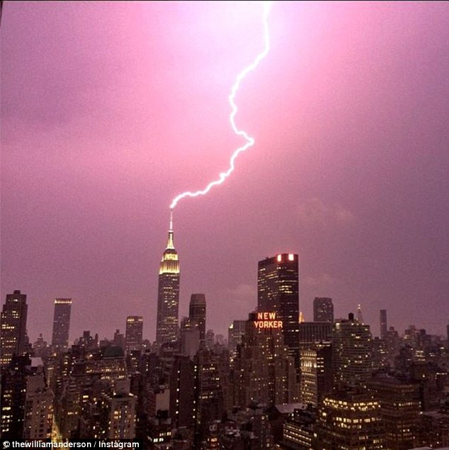 This incredible image, taken by William Anderson on his iPhone, shows the precise moment lightning strikes the Empire State Building