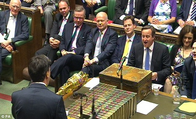 Old gang: (from right to left) George Osborne, Theresa Villiers, David Cameron, Nick Clegg, William Hague and Michael Gove hogged the best seats at Prime Minister's Questions