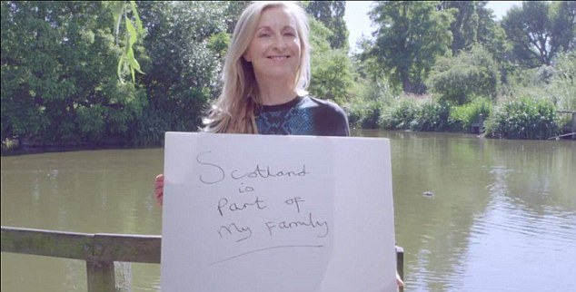 TV presenter Fiona Phillips said 'Scotland is part of my family' in the video, aimed at persuading voters to reject independence in September's referendum