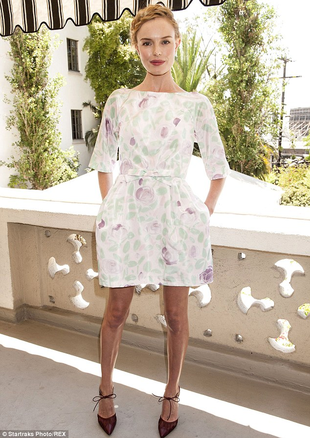 Pretty in pastels:  Kate Bosworth arrived at the Château Marmont in a pretty white, purple and green dress and brown high heels on Wednesday