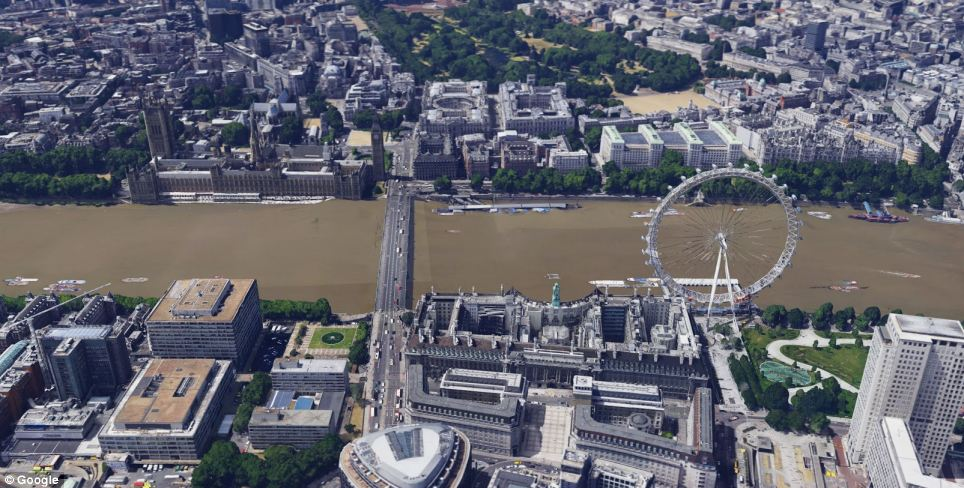 London (the London Eye and Westminster Bridge is pictured) is the the fifth city in the UK to be recreated in 3D on Google Maps. The others include Birmingham, Leeds, Reading and Stoke on Trent