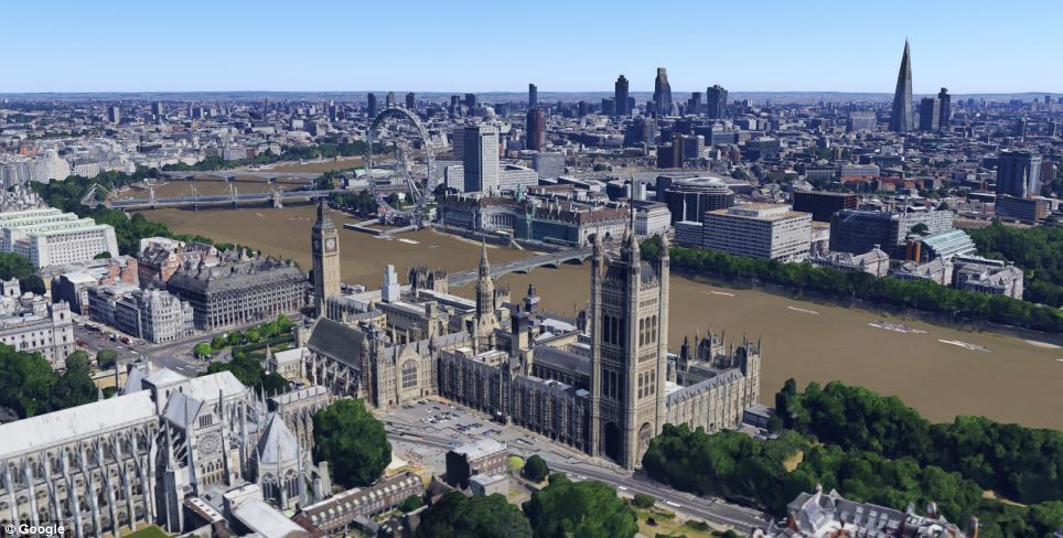 Google has added London landmarks including the Houses of Parliament and Big Ben (pictured in the foreground)  as well as terrains and landscapes across the capital to its 3D mapping service