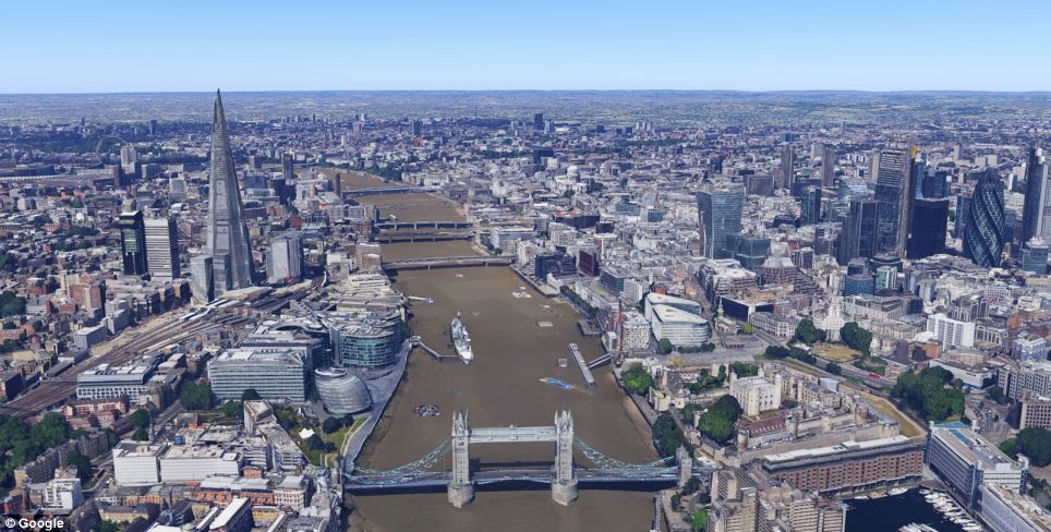 The 3D images (Tower Bridge and the Shard are pictured) appear as users zoom into London on Google Maps or Google Earth. Once the 3D building appears, users can pan, zoom, tilt and rotate to see the whole location