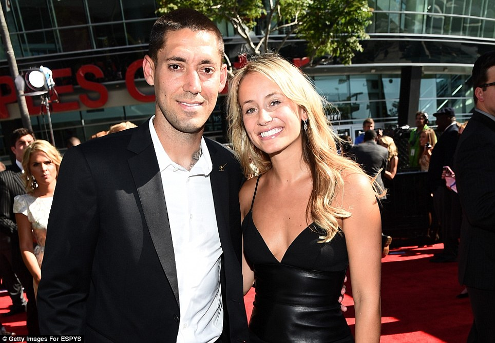 A star for the States: Clint Dempsey arrives for the lavish ESPY Awards in Los Angeles with fellow sports stars