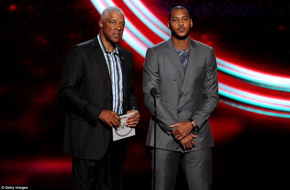 Back in the day: Basketball legend Julius Erving (left) speaks onstage with current new York knicks star Carmelo Anthony