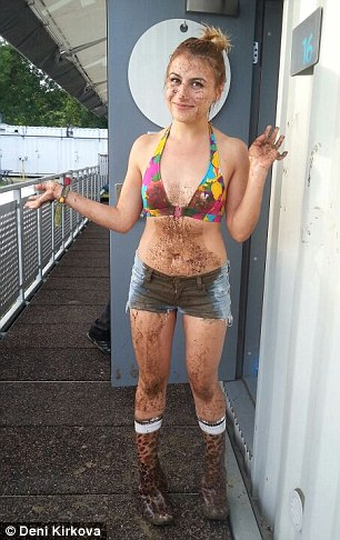 Deni did a mud slide to get as dirty as possible. Who cares? There's a shower right there!