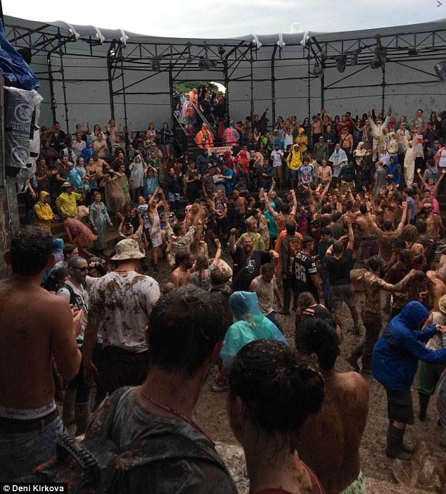 Mayhem: Deni enjoyed a session of mud and mess in La Tomatina-style tomato battle