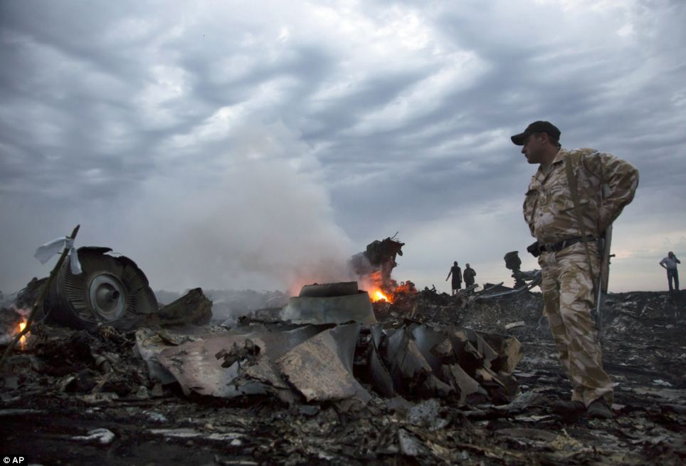 Destruction: The Boeing 777 aircraft was hit by a sophisticated surface-to-air missile over territory near Donetsk held by pro-Russian rebels who the Ukrainian government says are backed by the Kremlin