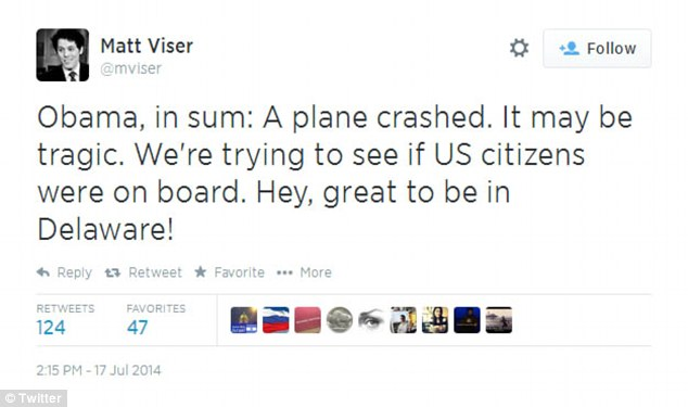 Boston Globe reporter Matt Viser captured the online reactions to Obama's statement about the downed airliner