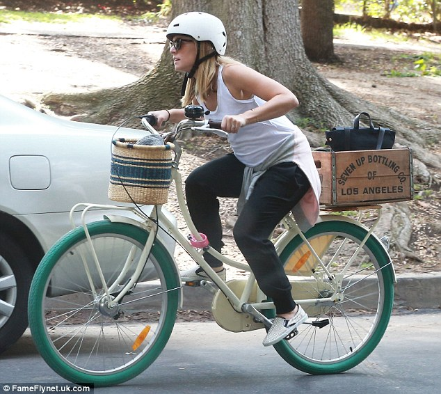 Staying in shape: On Wednesday the Veronica Mars star was spotted out on a bike ride in Los Feliz