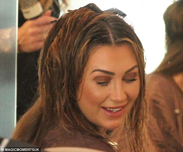 Pampered: Lauren paid a visit to a local salon, where she had her highlights done