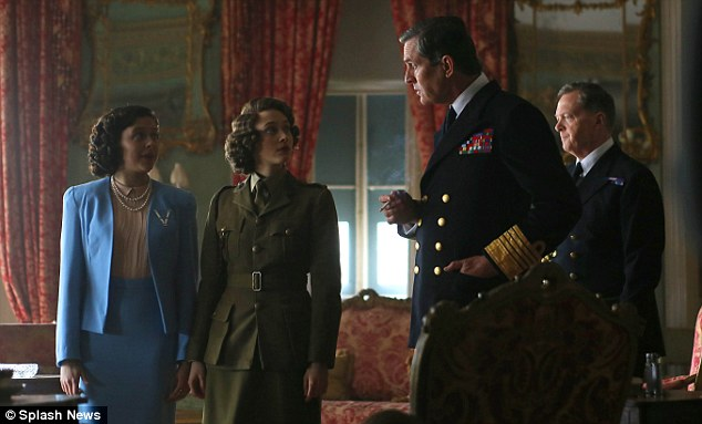 Royal rumble: Rupert Everett  as King George VI, with Emily Watson, Sarah Gadon as Queen Elizabeth whilst she was still a princess and Princess Margaret in a film about VE day called Girls Night Out