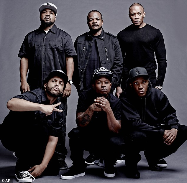 Silver screen adaptation: This photo released by Universal Pictures shows the cast and filmmakers of 'Straight Outta Compton,'  clockwise, from top left, producer Ice Cube, director F. Gary Gray, producer Dr. Dre, Corey Hawkins (as Dr. Dre), Jason Mitchell (as Eazy-E) and O'Shea Jackson Jr. (as Ice Cube)