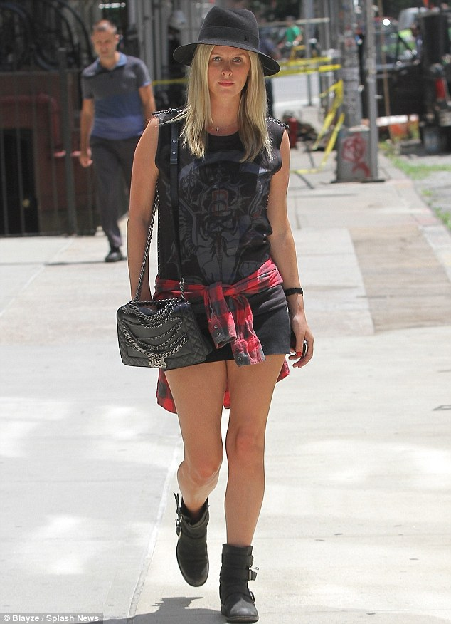 Taking steps: The 30-year-old blonde showed off her legs in micro-shorts on a hot day in New York