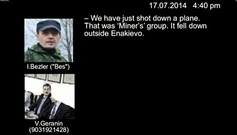 Allegations: This is a grab from the video provided to the Kiev Post. Pictured are Igor Bezler and Vasili Geranin. While (right) are likenesses of 'Major' and 'Grek'