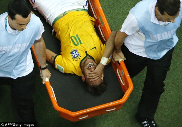 Agony: Neymar was ruled out of the rest of the World Cup after getting injured against Columbia
