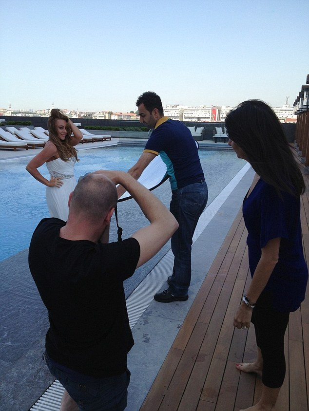 Soaking up the sun: The TV star shot her campaign in Istanbul, Turkey where a full crew got on board to perfect her shots