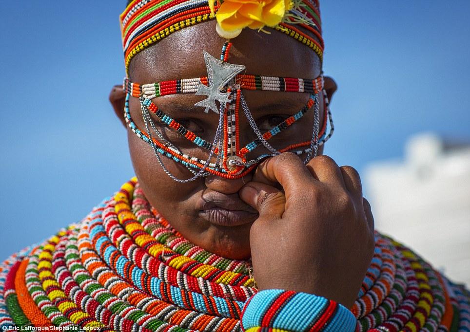 Spectacular: Both Samburu and Rendille women wear elaborate beaded collars, decorative headdresses and, once married, heavy brass earrings