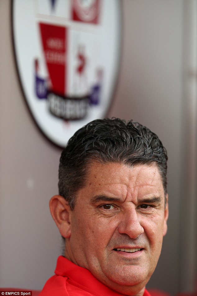 Watching on: Crawley Town manager John Gregory saw his side lose 2-0 to Championship team Fulham