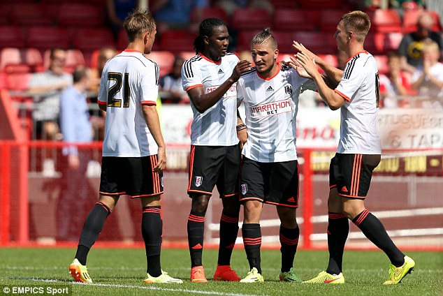Goalscorers: Hugo Rodallega (second left) and Stafylidis (second right) scored Fulham's two goals