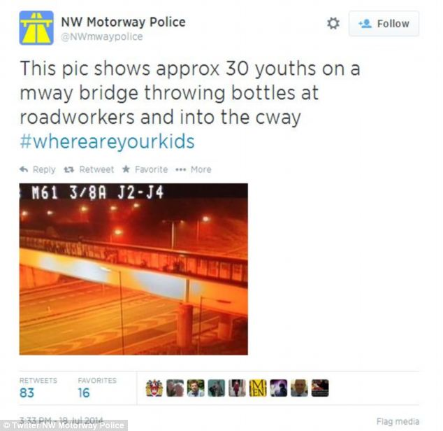 North West Motorway Police tweeted this pictured of the youths throwing bottles from the bridge to the motorway below