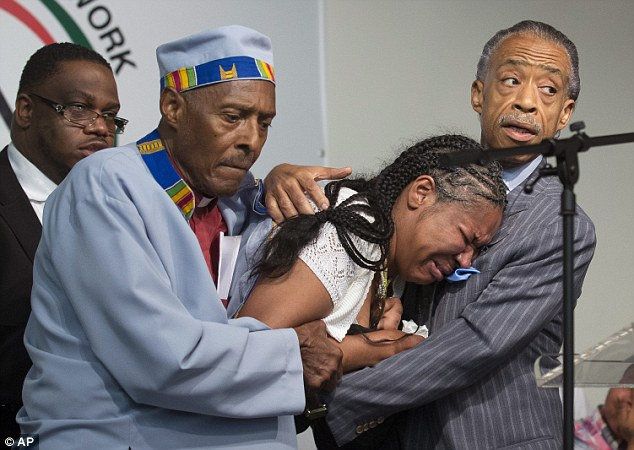 Despair: Daughtry and Sharpton support Esaw as she collapses in tears after hearing details of her husband's death