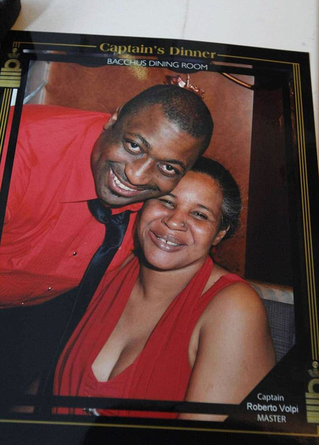 Grief: Esaw, pictured with Eric, says she struggled to watch the footage of her husband's final moments