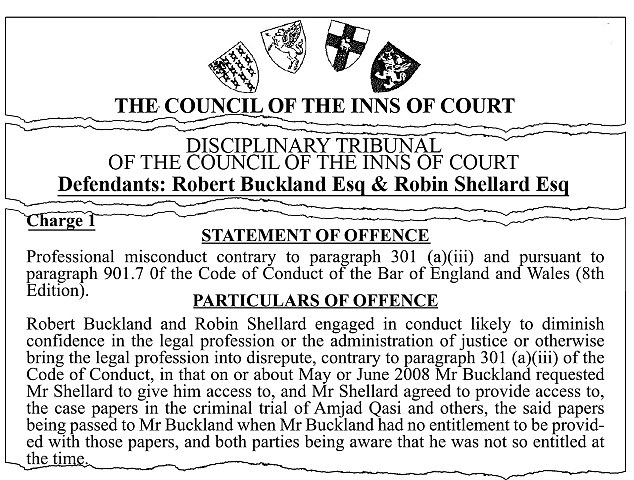 The censure of Mr Buckland by the Council of the Inns of Court