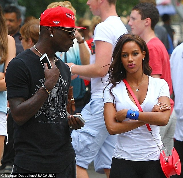 The worlds our oyster: A.C Milan striker Mario Balotelli and fiancee Fanny Neguesha have been spotted in various locations on vaction since the World Cup finished