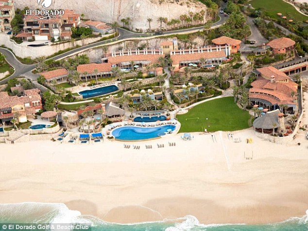 Beachside: On Friday night, guests toasted the couple at the luxurious El Dorado Golf & Beach Club in Los Cabos