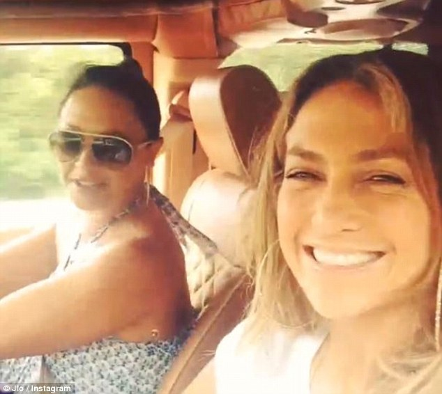Road trip: J-Lo captured this snap as Leah danced in her seat to Jay Z's verse in Clique while they were driving around the Hamptons in upstate New York recently
