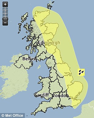 Alert: The Met Office has issued a 'yellow' warning of rain for eastern England and Scotland yesterday