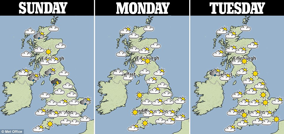 Three-day forecast: The heat is again likely to bring with it the risk of heavy showers and thunder storms