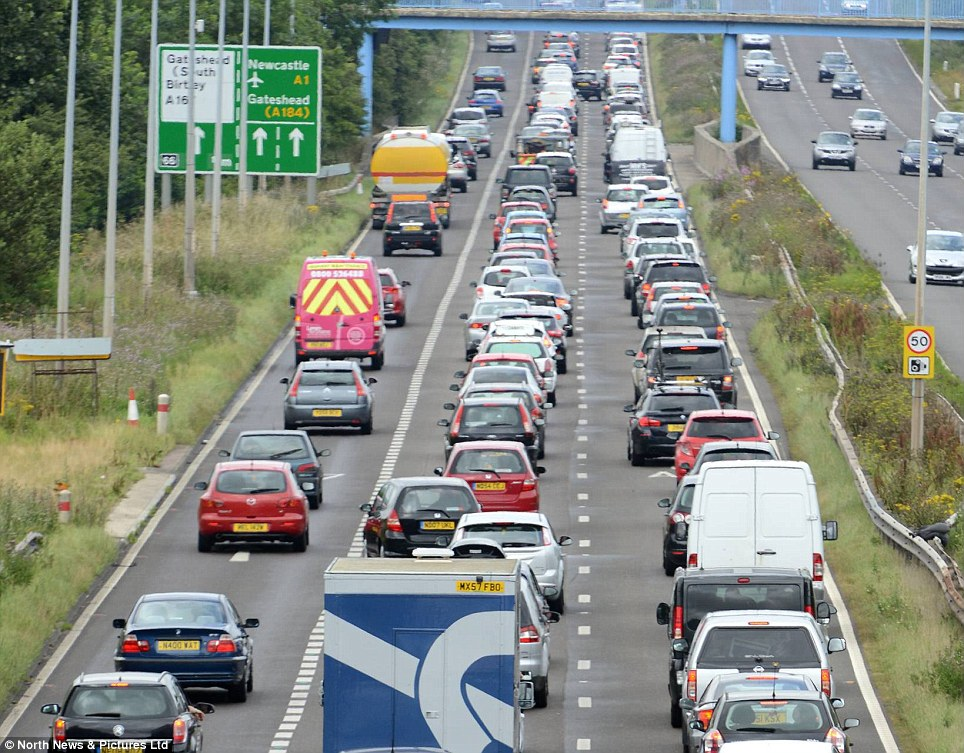 Busy: The A1 Western Bypass northbound around Newcastle city centre grinds to a halt this afternoon as people set off to begin their holidays