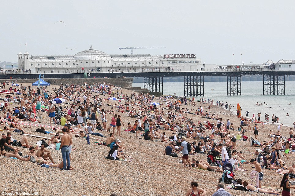Packed: Brighton beach was its usual busy self yesterday as sunseekers flocked to the south coast to top up their tans