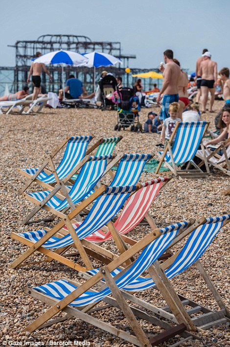 General view of beach in Brighton