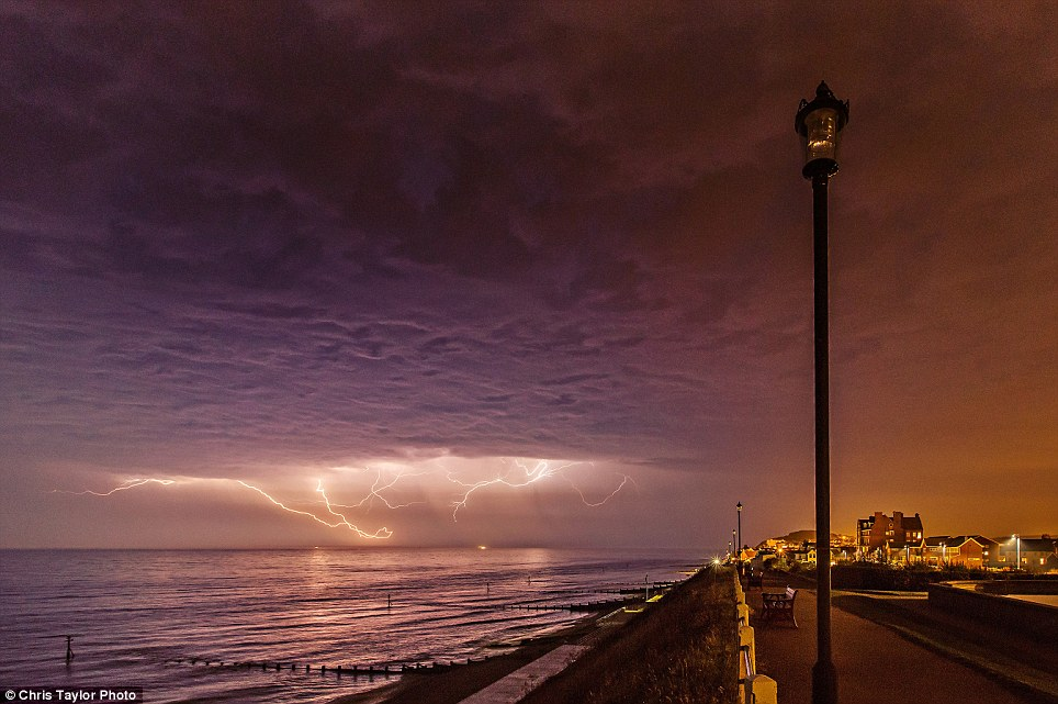 Spectacular: Lightning was photographed last night in Sheringham, Norwich, 30 miles north of Norwich