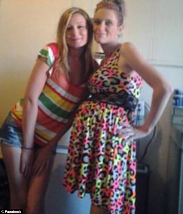 Arrested: Danielle Saxton (right) posted this picture of herself online wearing a leopard print dress which she allegedly stole from an Illinois boutique that day