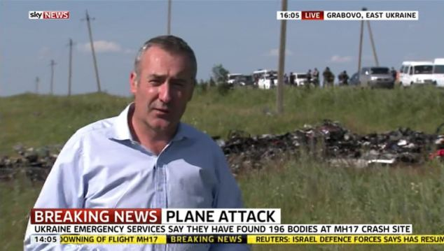 Scene of the crash: Brazier has come under flack for his latest dispatch from the scene in eastern Ukraine