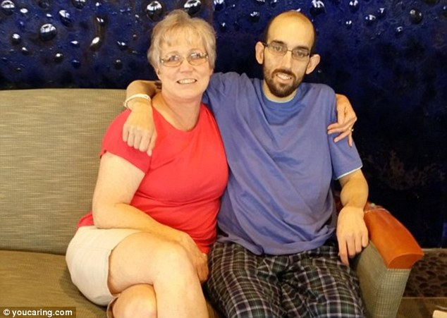 Josh, pictured here with his mom, got to see his family before he died just days before his 32nd birthday