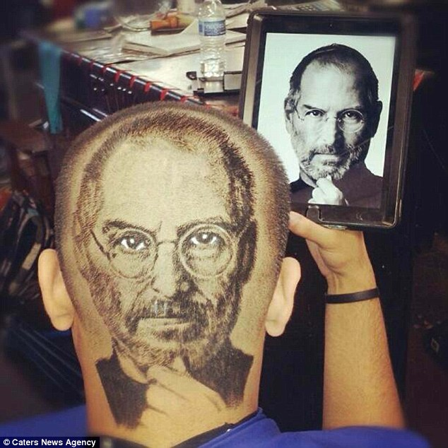 Steve Jobs design: A customer has the face of the late Apple CEO shaved into his head
