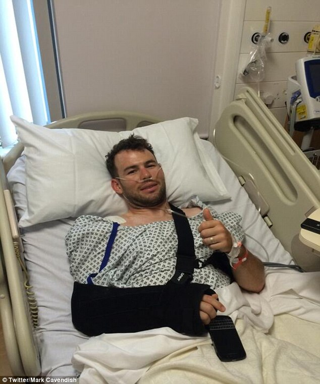 Bed bound: Mark Cavendish says he is recovering well from his shoulder surgery and has started cycling again