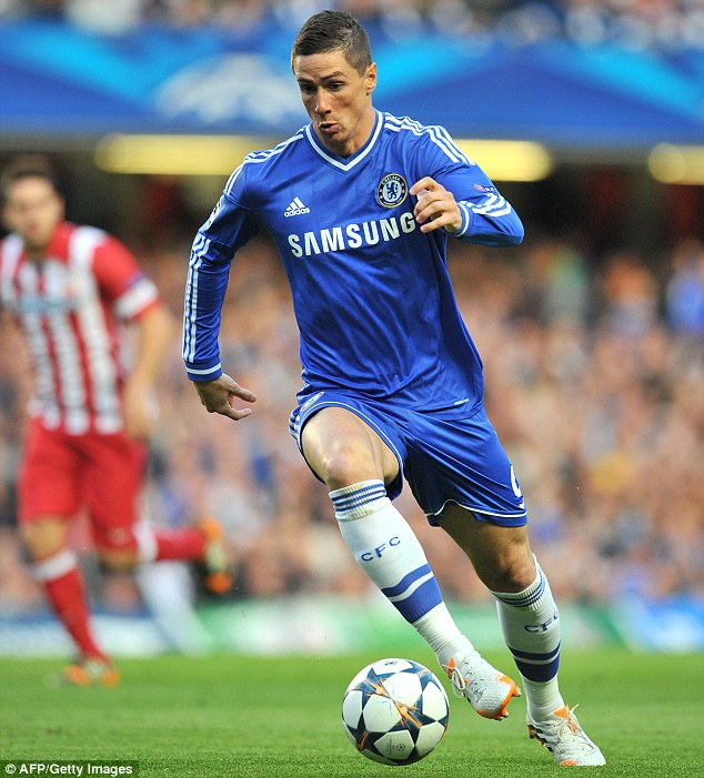 Homegrown: Torres running with the ball against Atletico, the club where he began his career