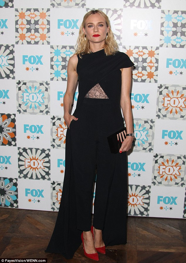Bizarre: Diane Kruger took a rare fashion misstep in a lopsided, split-caped jumpsuit at the Fox Summer TCA bash in West Hollywood Sunday