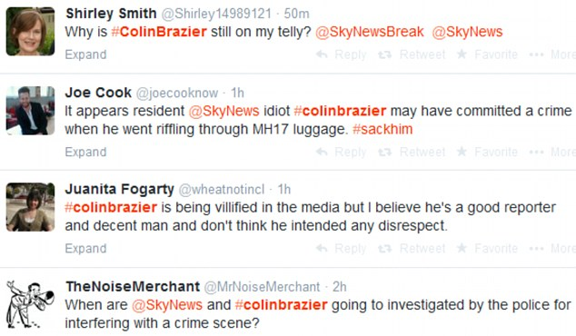 Brazier's actions has also sparked a furious response on social media - with one Twitter user asking 'Why is Colin Brazier still on my telly?', while others appeared to defend the veteran reporter