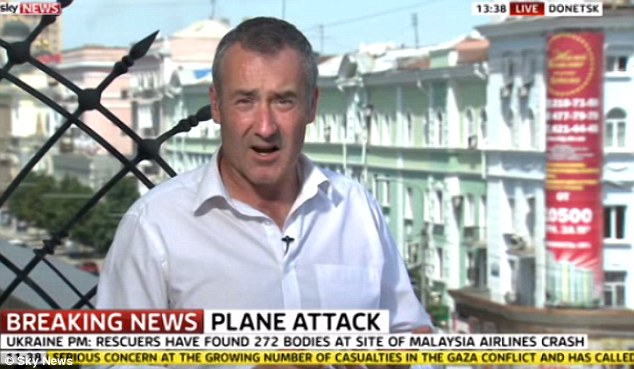 Sky News reporter Colin Brazier was reporting from Donetsk this morning despite a row breaking out over footage of him sifting through personal belongings among the wreckage of Flight MH17