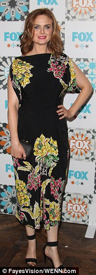 Black-clad trio: Bones actress Emily Deschanel went floral while her co-star David Boreanaz did T-shirt & jeans and Married actress Judy Greer rocked a LBD