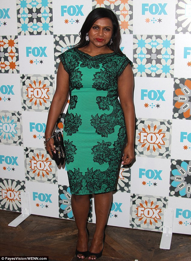 Emerald moment: Six-time Emmy nominee Mindy Kaling displayed her cuvaceous form in a green frock with fishnet overlay
